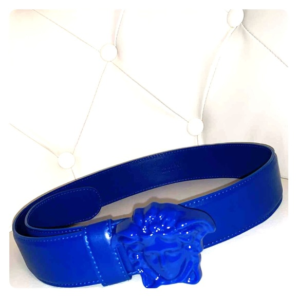 Blue Medusa Head Versace Belt Nwt